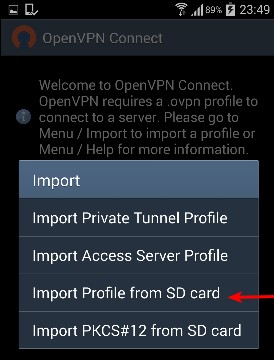 Import configuration file from SD card