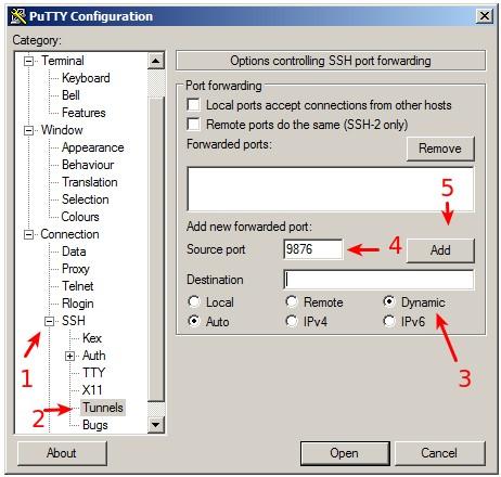 PuTTY SSH tunnel settings