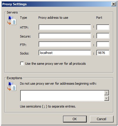 Configuring the SSH tunnel SOCKS proxy in the browser