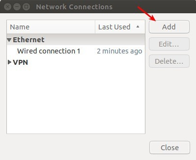 Add network connection in Linux Ubuntu