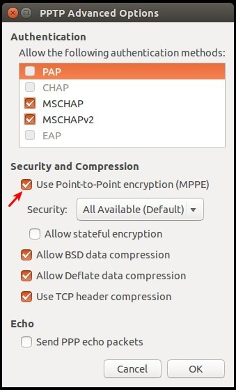 Turn on PPTP MPPE encryption