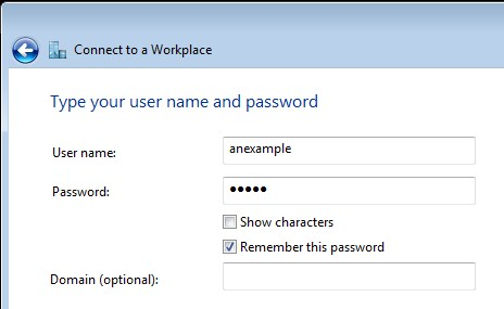 PPTP username and password
